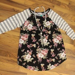NWT Floral/Stripe Top